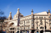 Barcelona city buildings Gran Via and Rambla — Stock Photo