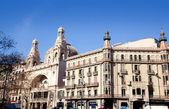 Barcelona city budynków gran via i rambla — Zdjęcie stockowe