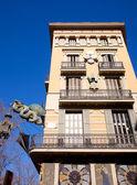 Barcelona Ramblas street dragon in Plaza Boqueria — Stock Photo