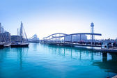 Barcelona port marina with bridge — Stock Photo