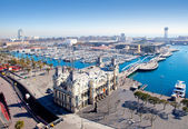 Aerial Barcelona port marina view — Foto de Stock