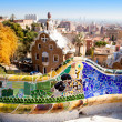 Barcelona park Guell fairy tale mosaic house - Stock Photo