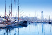 Barcelona marina port with teleferic tower — Stock Photo