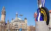 Pop statue head of Barcelona Roy Lichtenstein — Stock Photo