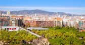 Barcelona Panoramic with Tibidabo mountain — Stock Photo