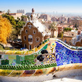 Barcelona park Guell fairy tale mosaic house — Stock Photo