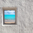 Balearic islands idyllic turquoise beach from house window — Stock Photo