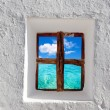 Stock Photo: Balearic islands idyllic turquoise beach from house window