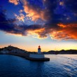 Stock Photo: EibissIbiztown sunset from red lighthouse