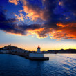 Eibissa Ibiza town sunset from red lighthouse — Stockfoto
