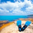 Balearic Formentera island with scuba diving fins — Foto Stock