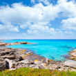 Balearic formentera island in escalo rocky beach - Stockfoto