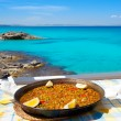 Paella mediterranean rice food in balearic islands — Stock Photo #11351046