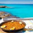 Paella mediterranean rice food in balearic islands - Stock Photo