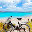 Bicycle in formentera beach on Balearic islands — Stock Photo