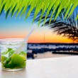 Cocktail Mojito in Balearic island sunset — Stock Photo