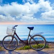 Bicycle in formentera beach with Ibiza sunset — Stock Photo