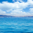 Balearic Ibiza island general view from open sea - Stock Photo