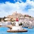 Eivissa ibiza town from red lighthouse red beacon - Stock Photo