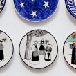 Ibiza typical painted plates souvenir with payes - Stock Photo