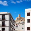 Eivissa Ibiza town with church under blue sky - Zdjęcie stockowe