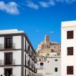 Eivissa Ibiza town with church under blue sky - Stok fotoğraf