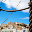 Eivissa Ibiza town with view prom boat rope ladder — Stock Photo