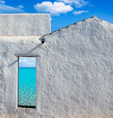 Balearic islands idyllic beach from house door — Stock Photo