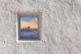 Balearic islands Es Vedra sunset through window — Stock Photo