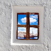 Eivissa Ibiza town view through window — Stock Photo