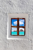 Ibiza Es vedra island view through white window — Stock Photo