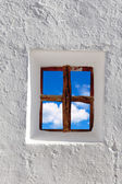 Balearic islands blue sky view through window — Stock Photo