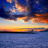 Ibiza island sunset with Es Vedra and Gastabi islet — Stock Photo