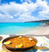 Paella mediterranean rice food in balearic islands — Stock Photo