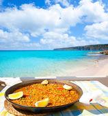 Paella mediterranean rice food in balearic islands — Stock Photo