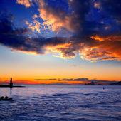 Sunset from La Savina lighthouse in Formentera — Stock Photo