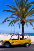 Formentera island with summer retro convertible — Stock Photo