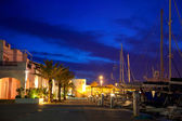 Balearic Formentera marina in night lights — Stock Photo