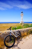 Bicycle on Balearic Formentera Barbaria Lighthouse — Foto Stock