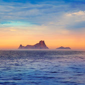 Ibiza sunset in Balearic islands view from sea — Stock Photo