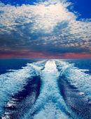 Blue sea with prop wash wake in Ibiza Island — Stock Photo