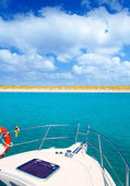 Boat anchored in Formentera Espalmador island — Stock Photo