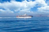 Ferry cruising Ibiza to Formentera with Es Vedra — Stock Photo