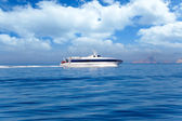 Ferry cruising Ibiza to Formentera with Es Vedra — Stock Photo
