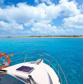 Boat in Formentera island on llevant beach — Stock Photo