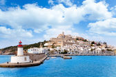 Eivissa ibiza town from red lighthouse red beacon — Stock Photo