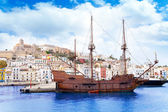Eivissa ibiza town with old classic wooden boat — Stock Photo