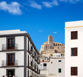Eivissa Ibiza town with church under blue sky — Stock Photo