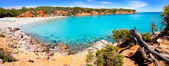 Cala Llenya in Ibiza with turquoise water in Balearic — Stock Photo