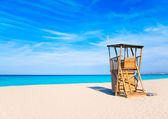 Formentera Llevant beach lifeguard house — Stock Photo